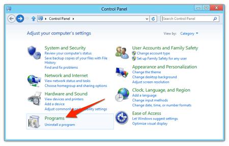 the Windows 8 classic Control Panel