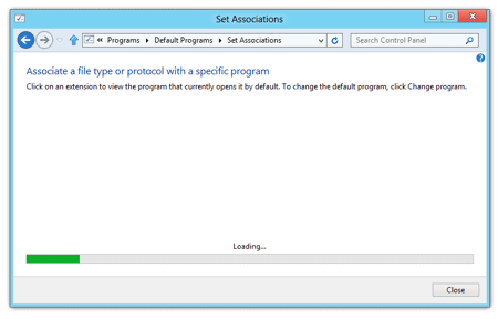 changing the file associations in Windows 8