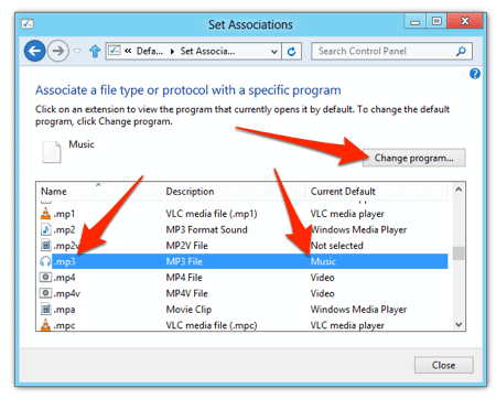 the MP3 file association in Windows 8