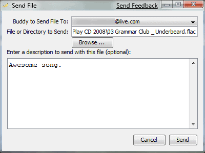 filephile sending a file