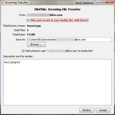 filephile receiving a file
