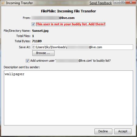 filephile receiving a file