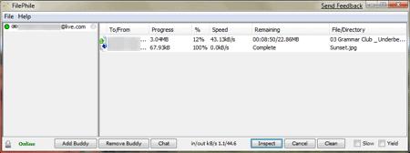 filephile transfers in progress