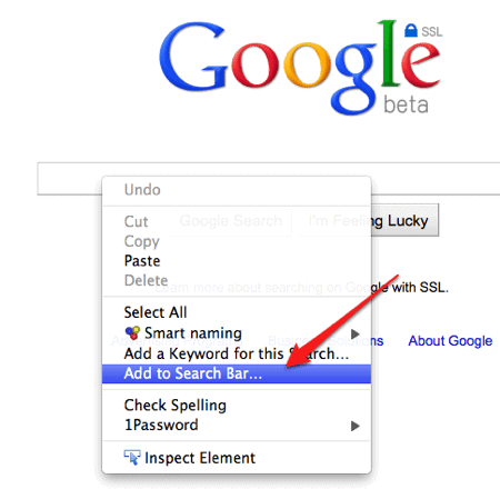 How do I get Google search in the right click menu of Firefox?