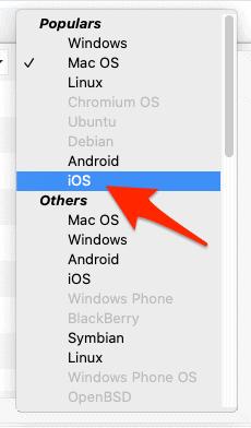 el menú del sistema operativo User-Agent Switcher y Manager