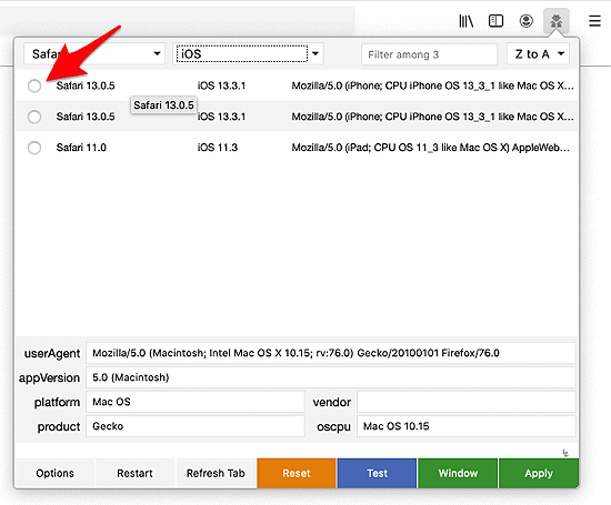 the User-Agent Switcher and Manager list of iOS options