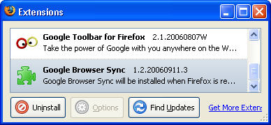 using the google browser sync plugin