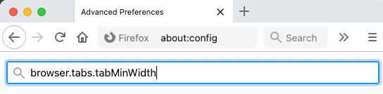 decrease the width firefox tabs setting