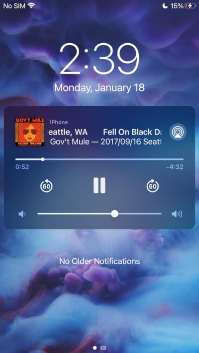 a iOS Lock Screen with VLC playing a flac file