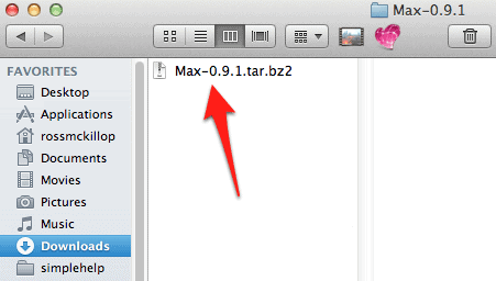 the Max bz2 file in a Finder window