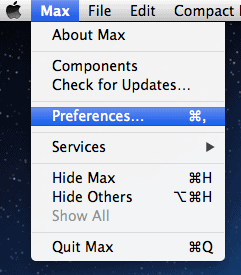 the File menu for Max