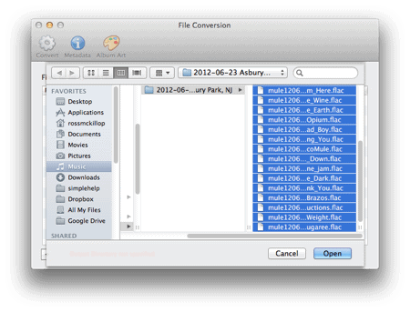 selecting flac files to convert to mp3 in macOS