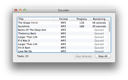 the process of converting flac files to MP3 using a Mac