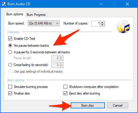 burn audio cd from flac recording options