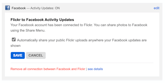 Facebook settings on Flickr with an arrow pointing to the selection box
