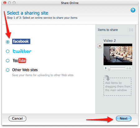 an arrow pointing to the Facebook button in FlipShare for a Mac to upload a video