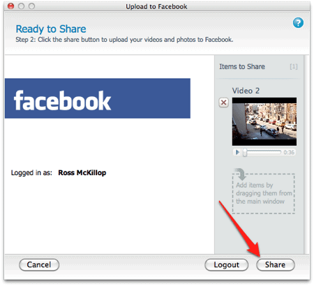 an arrow pointing to the Share button in the FlipShare software for Mac