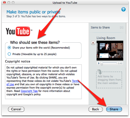 selecting video permissions in the Flip video app