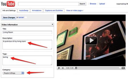 editing video file info on YouTube