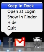 keep gmail fluid app in the dock
