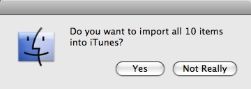 confirmation window on importing items to itunes