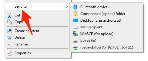 an edited Windows Send To right-click menu
