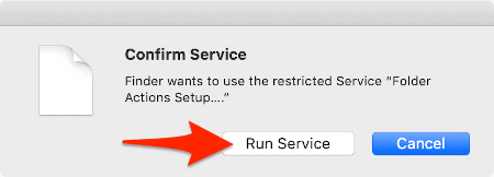 a macOS dialogue box with an arrow pointing to the Run Service button