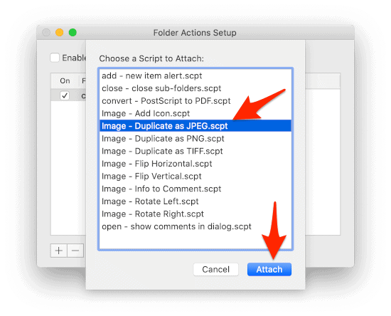 the Folder Actions Setup macOS window