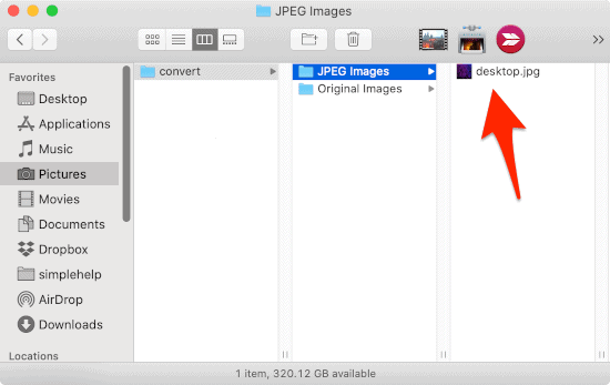 a Finder window with an arrow pointing at a JPG file