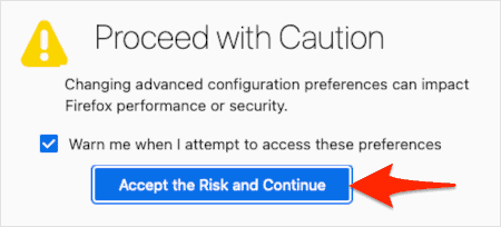 firefox about:config warning