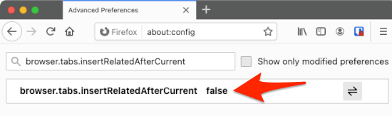 about:config in firefox with browser.tabs.insertRelatedAfterCurrent set to false