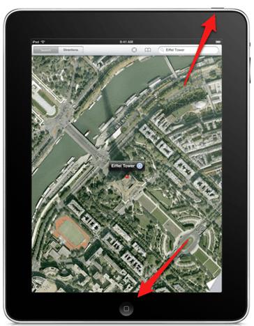 the sleep/wake and home buttons on an iPad