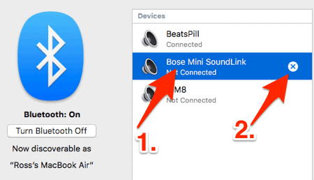 removing a bluetooth device in OSX