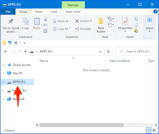 a newly formatted USB thumb drive in Windows