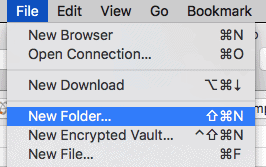 Cyberduck creating a folder on an FTP site