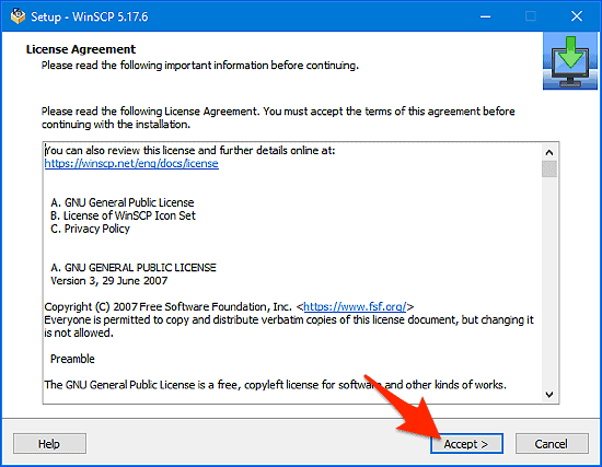 winscp license agreement installer window