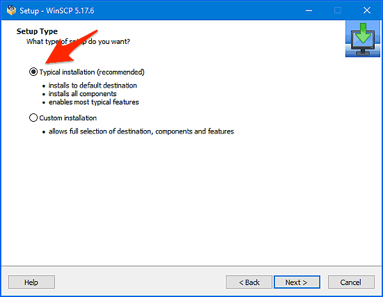 Setup Type window for the winscp installation