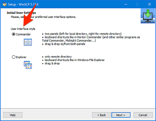 the user interface option for WinSCP