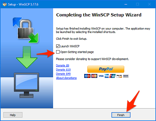 finish installing WinSCP window