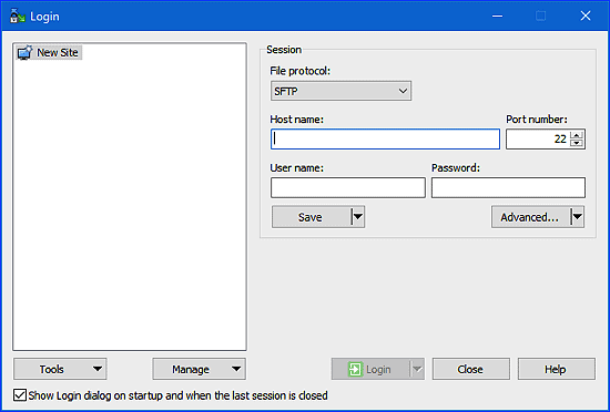 the main WinSCP login window