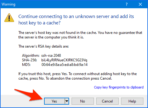 the WinSCP host key message