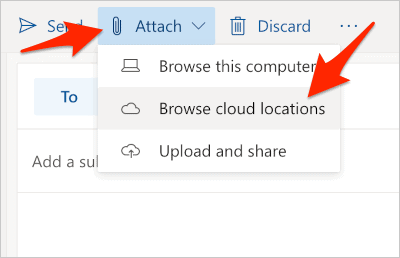 the outlook.com compose email with an arrow pointing at Attach