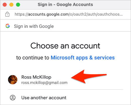 selecting a Google account to allow access to Outlook for sending docs