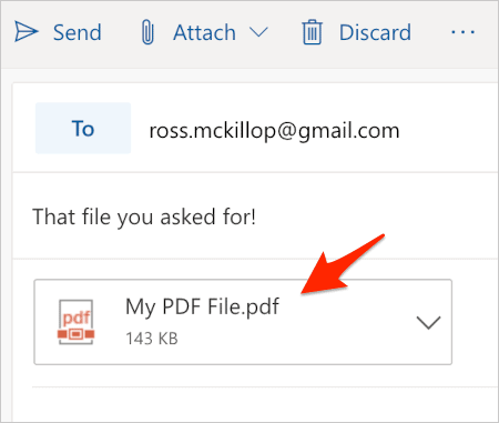 an outlook.com email with a doc file attached
