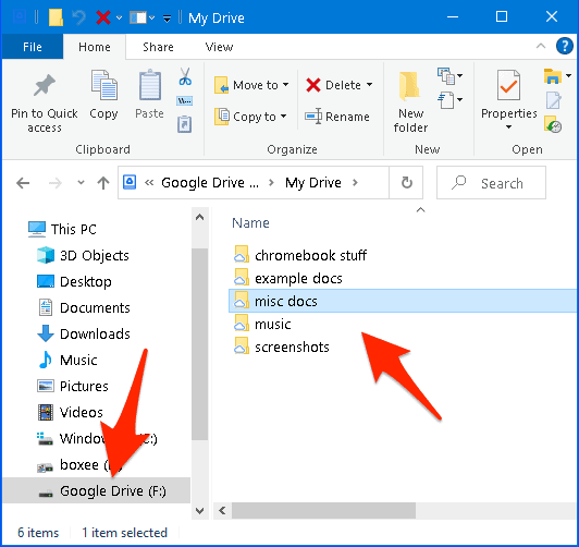 Windows File Explorer with Google Drive added