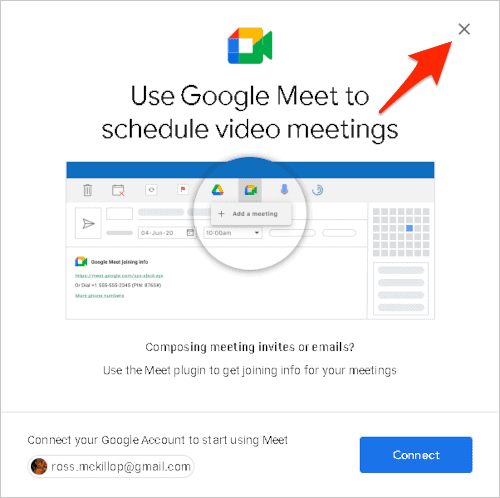 the Google Meet requesting access to Outlook screen