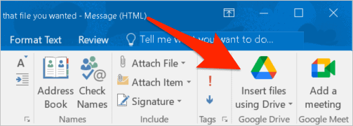 the Insert files using Drive button in the Outlook ribbon