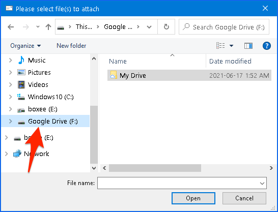 selecting Google Drive as a location in Windows