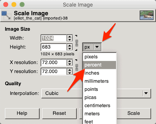 resizing an image by percentage in the Gimp