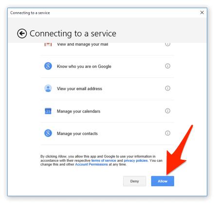 el mensaje de confirmación para agregar una cuenta de correo electrónico a Windows 10